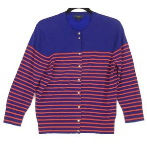 J Crew blue red Jackie Cardigan sweater A0323